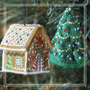 Tiny cross-stitch ornament_ Jennifer Jones's Gingerbread Cottage & Cressida Chrimble's Christmas Tree_ £12 each