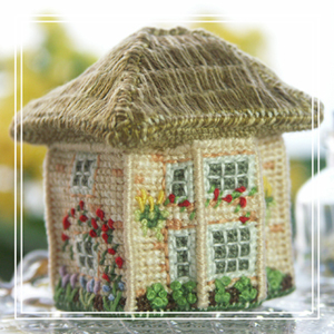 Cross-stitch embroidery kit_size: w 4.6 x d 4 x h 5 cm_Rosebay Cottage_£16